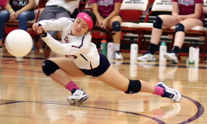 Sophomore Lady 'Cat Libero Bianca Valverde goes for the dig.