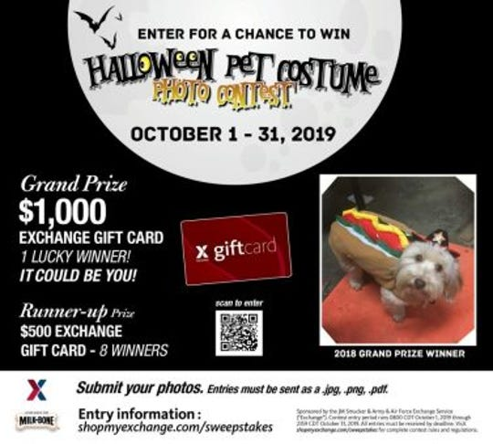 The Army & Air Force Exchange Service is inviting military shoppers to share photos of their pets in Halloween attire for a chance to win $5,000 in Exchange gift cards.