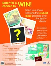 Calling all dads! During the month of October Exchange shoppers can enter to win the Dad's Craziest Diaper Change sweepstakes by submitting a photo of the most creative place they've changed a diaper.