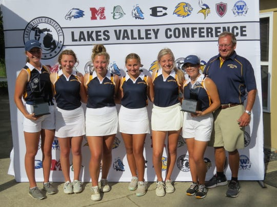 The South Lyon girls golf team won the Lakes Valley Conference tournament.
