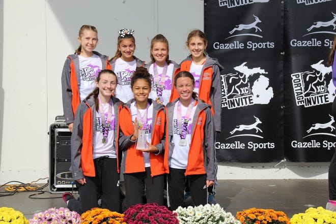 The Varsity 7 on the Northville girls cross country team finished in second place at the Portage Invite.