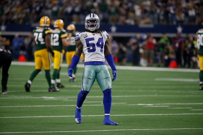 Dallas Cowboys' Jaylon Smith (54) celebrates sacking Green Bay Packers' Aaron Rodgers in the second half of an NFL football game in Arlington, Texas, Sunday, Oct. 6, 2019.