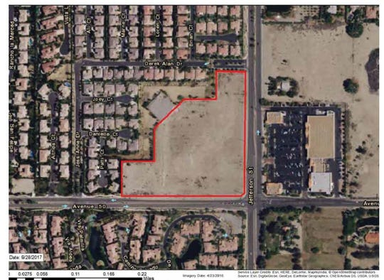 An map showing the proposed location of the Pavilion Palms shopping center, on the northwest corner of Avenue 50 and Jefferson Street, in La Quinta.