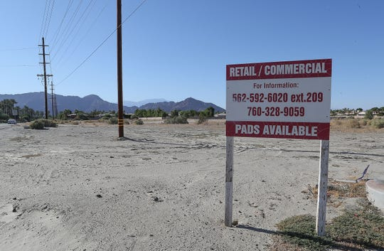 "A 125,000-square-foot ""Pavilion Palms"" shopping center is proposed to go on this vacant land at the corner of Jefferson St. and Avenue 50 in La Quinta, October 7, 2019."