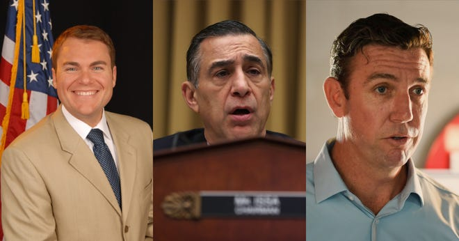 Rep. Duncan Hunter, R-Alpine, is being challenged by Republicans Carl Demaio, a former San Diego City Councilman and Darrell Issa, a former congressman who represented western San Diego County.