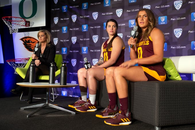 From left to right, Arizona State head coach Charli Turner Thorne along with players Robbi Ryan and Taya Hanson speak to reporters during the Pac-12 Conference women's NCAA college basketball media day Monday, Oct. 7, 2019, in San Francisco.