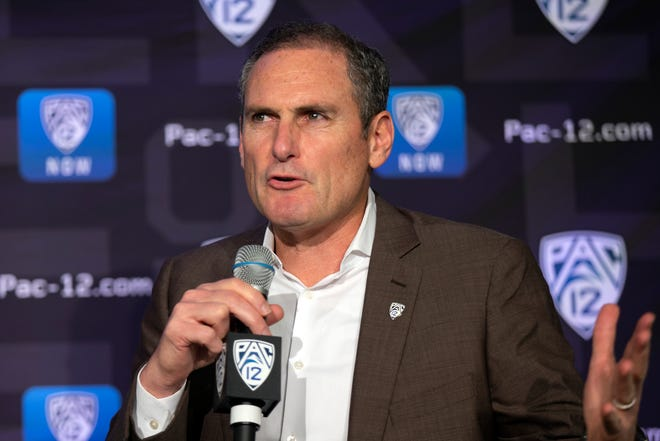 Pac-12 Commissioner Larry Scott speaks to reporters during the Pac-12 Conference women's NCAA college basketball media day, Monday, Oct. 7, 2019 in San Francisco.
