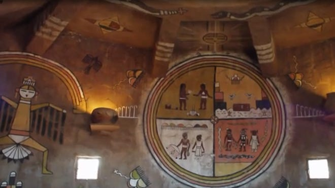 A watchtower near the Grand Canyon's east entrance is adorned with murals painted by Fred Kabotie and Fred Geary.