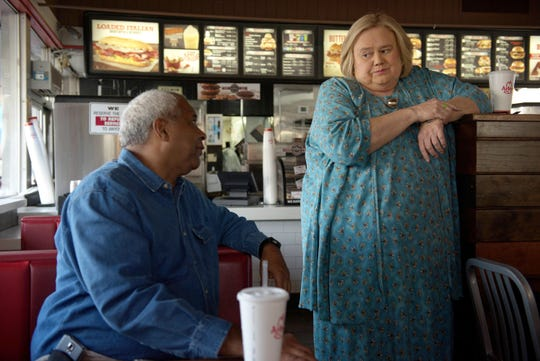 "In ""Baskets,"" Ken (Alex Morris) and Christine (Louie Anderson) spend some time at Arby's."