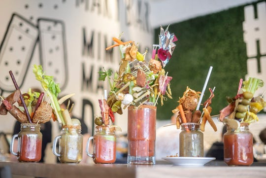Choose your own tomato sauce, vodka, toppings and size at the Hash Kitchen bloody mary bar.