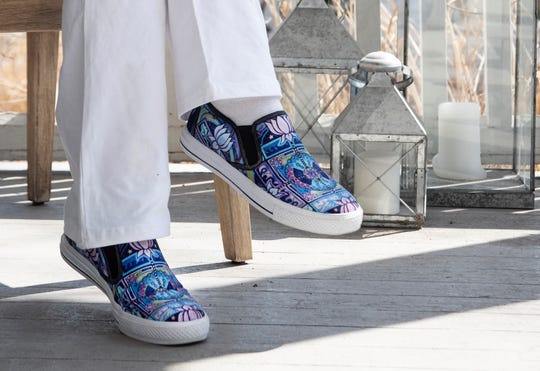 One of the unisex vegan sneaker designs created by Kelli Bickman of Saugerties.