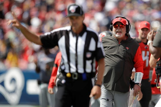 Tampa Bay Buccaneers head coach Bruce Arians, seen here in an Associated Press file photo, hasn't exactly seen eye to eye with the NFL officials this season. Arians is a York High graduate.