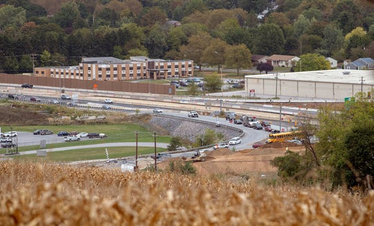This is looking across Mount Rose Avenue where southbound Interstate 83 exits onto the road in October 2019. New bridge construction can be seen on the lower right.