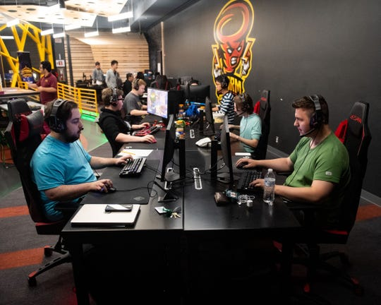 Members of the Harrisburg University Esports team practice with each other and figure out new strategies, August 23, 2019.
