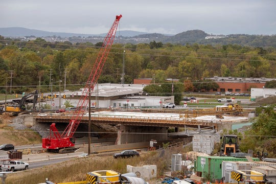 Bridge construction continues, widening Mount Rose Avenue at the intersection of Interstate 83, in this October 2019 view of the construction site.