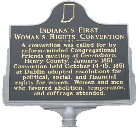 A historical marker in Dublin, Ind.