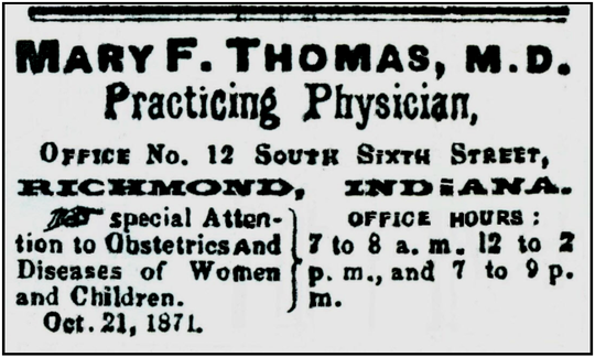 An advertisement for Mary F. Thomas' practice.