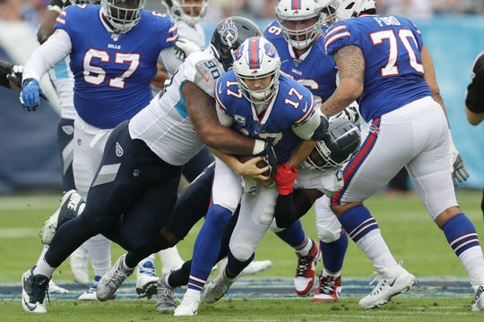 Bills right tackle Cody Ford (70) suffered a concussion in Sunday's 14-7 win over Titans. Bills have five offensive linemen injured and bye comes at very good time.