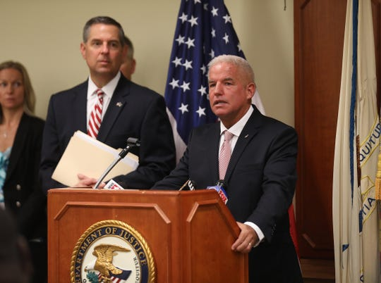 U. S. Attorney James P. Kennedy, Jr. with the Western District of New York office announced the guilty plea by Perry Santillo, 39, of Rochester who bilked at least 1,000 people out of more than $100 million over a decade.  Also with Kennedy is U.S. Attorney David J. Freed  with Middle District of Pennsylvania whose office worked in conjunction with them.  Santillo also faces charges to mail fraud in federal court in Pennsylvania.  The press conference was held in downtown Rochester at the Kenneth B. Keating Federal Building.
