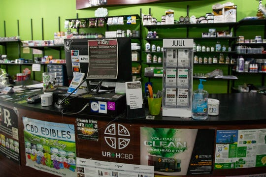 JUUL pods for sale at Exscape Smoke Shop and Vape Lounge on Monroe Avenue in downtown Rochester. Monday, Oct. 7, 2019.