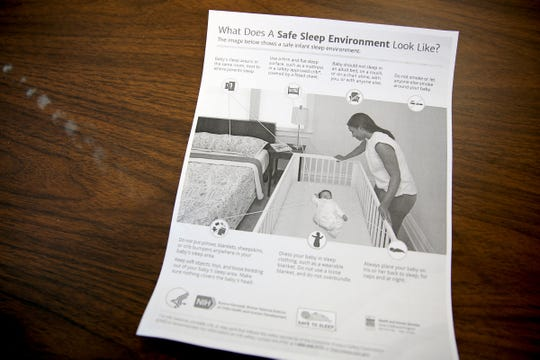 A safe sleep guide given to families by the Marion County Health Department. Photographed in Salem on Oct. 7, 2019.