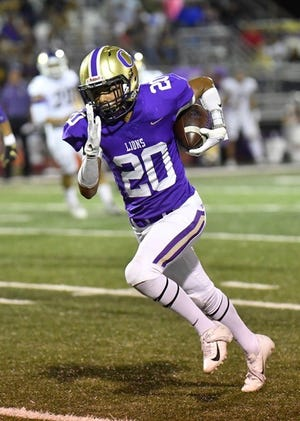 Ozona High School's Joe Perez goes upfield for more yardage after a reception against Crane, Friday, Oct. 4, 2019, in Ozona.