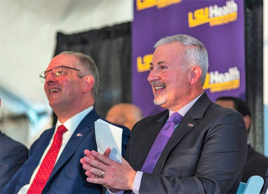 Louisiana Gov. John Bel Edwards and LSUHS Chancellor Dr. G.E. Ghali at groundbreaking and celebration.