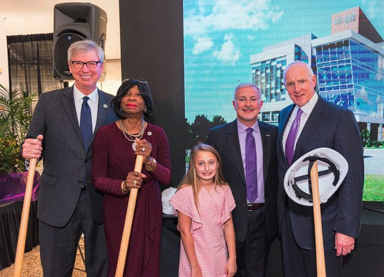 State Reps. Larry Bagley and Barbara Norton, Garrisyn Ghali, LSUHS Chancellor  Dr. G.E. Ghali and Ochsner Health System Chief Warner Thomas at groundbreaking.