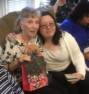 Mary Leverette and Elizabeth Smith at Leverette's 100th birthday celebration.