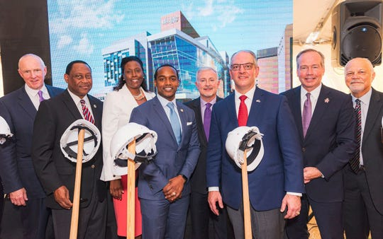 Power Pack Luminaries participating in groundbreaking for Medical Education at LSU Health Shreveport: Ochsner Health System Chief Warner Thomas, state Reps. Sam Jenkins and Katrina Jackson, Shreveport Mayor Adrian Perkins, LSUHS Chancellor Dr. G.E. Ghali, Louisiana Gov. John Bel Edwards, LSU Prez Dr. King Alexander and state Sen. Greg Tarver.