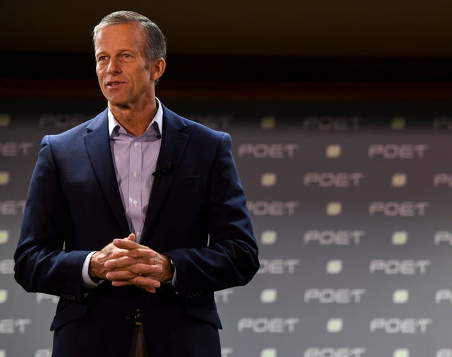 Sen. John Thune speaks to POET employees about changes coming to the ethanol industry on Monday, Oct. 7, 2019. A plan proposed by the Trump administration will implement regulations that will increase demand for ethanol.