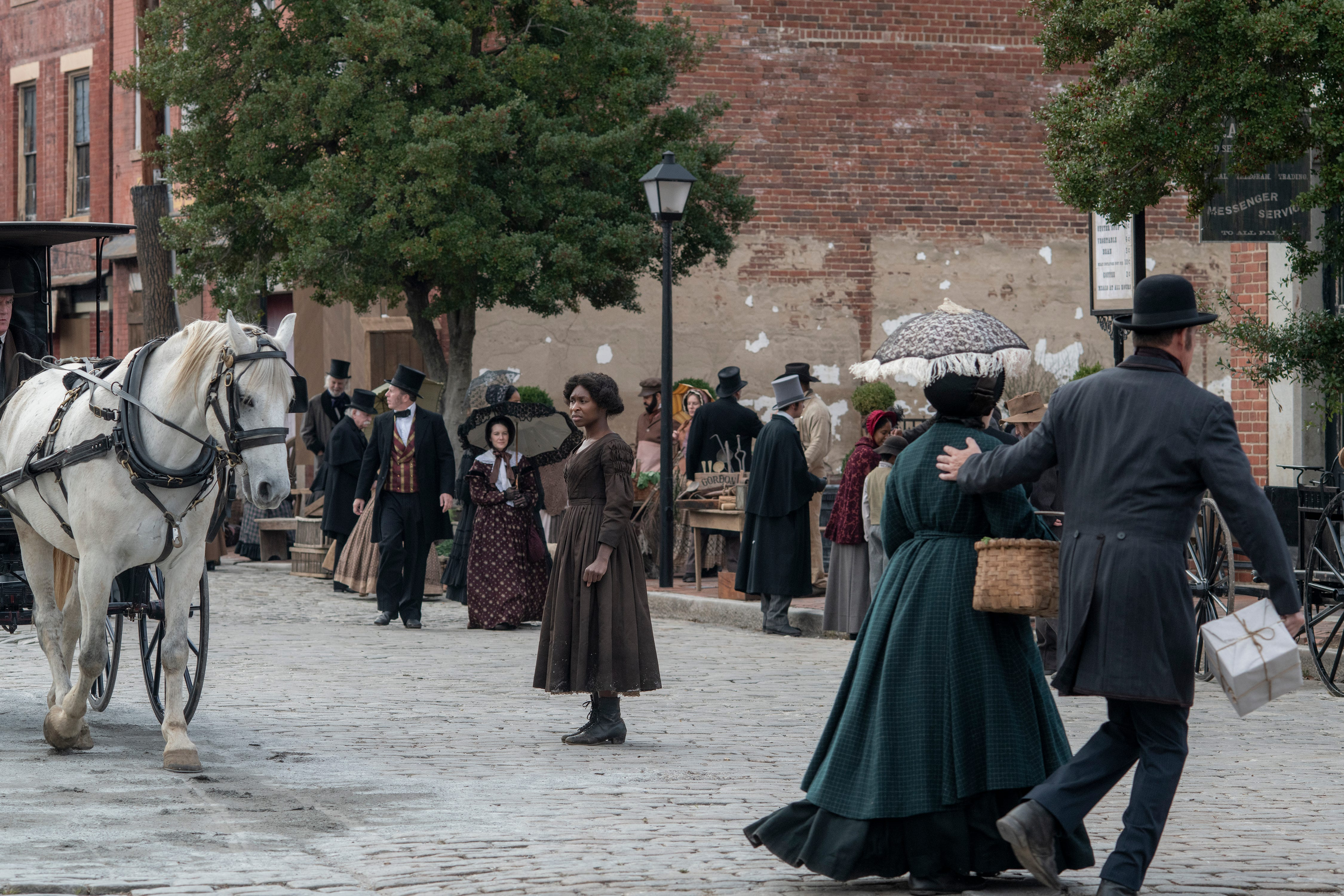 """Cynthia Erivo (center) stars as Harriet Tubman in """"Harriet,"""" a Focus Features release."""