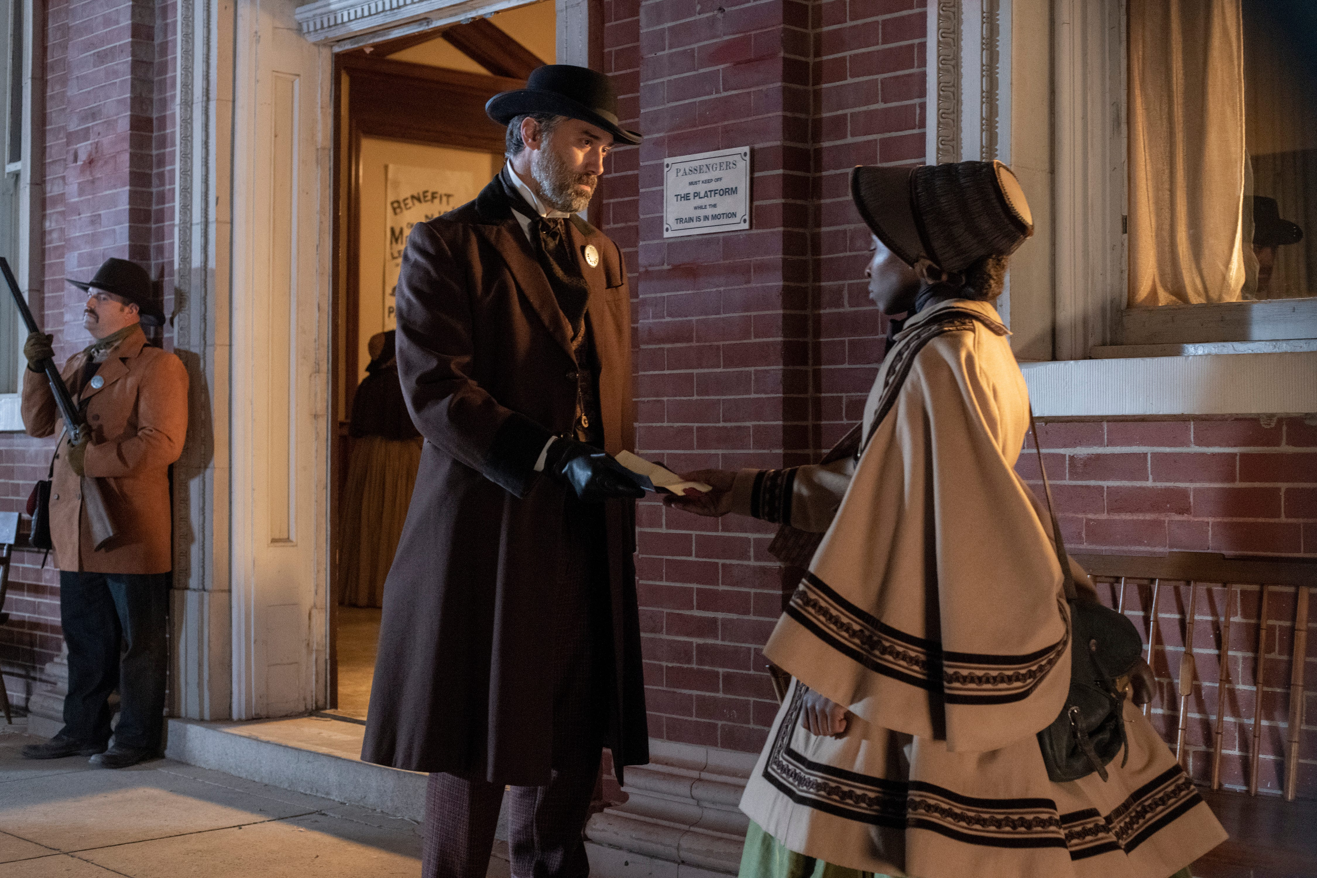 """Brian K. Landis stars as Marshal and Cynthia Erivo as Harriet Tubman in """"Harriet,"""" a Focus Features release."""