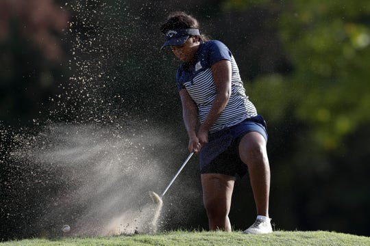 Maclay golfer Annika Dean hits one out of the sand during the girls golf Big Bend Championship at Killearn Country Club Monday, Oct. 7, 2019.