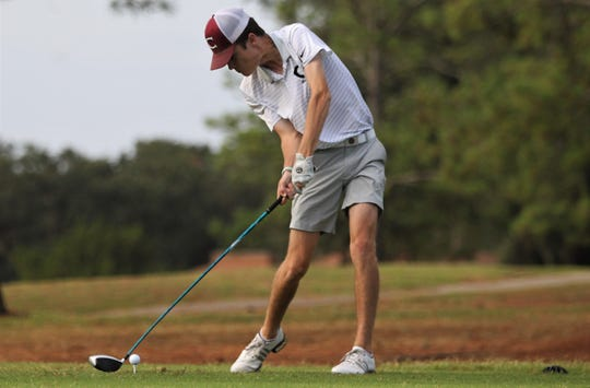 Chiles junior Jake Springer hits a drive during the boys golf City Championships at Hilaman Golf Course on Monday, Oct. 7, 2019.