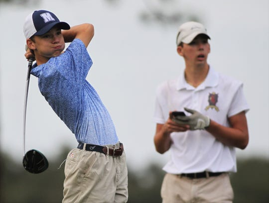 Maclay freshman Wyatt Frazee watches a drive during the boys golf City Championships at Hilaman Golf Course on Monday, Oct. 7, 2019.
