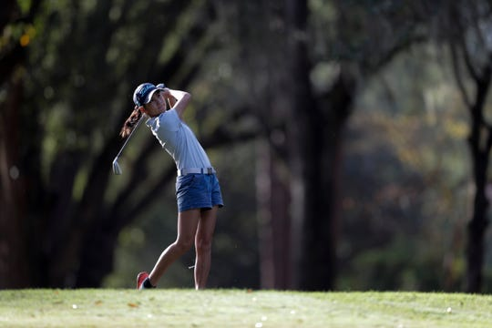 Community Christian golfer Tynley Cotton hits the ball during the girls golf Big Bend Championship at Killearn Country Club Monday, Oct. 7, 2019.
