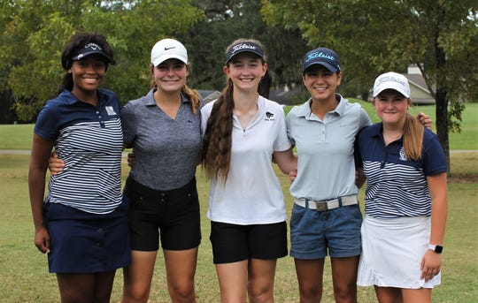 The top five finishers at the girls golf Big Bend Championship at Killearn Country Club on Monday, Oct. 7, 2019. From left: Maclay junior Annika Dean (3rd), St. John Paul II freshman Patti Patterson (2nd), Chiles freshman Sabree Lefebvre (1st), Community Christian freshman Tynley Cotton (4th), Maclay eighth-grader Ellie Jane Riner (5th).