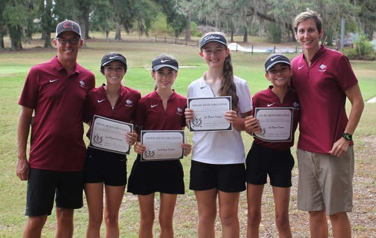 Chiles' girls golf team won the Big Bend Championship at Killearn Country Club on Monday, Oct. 7, 2019. From left: assistant coach Gerard LaMothe, junior Abby LaMothe, sophomore Delaney Wilcox, freshman Sabree Lefebvre, freshman Francesca Perfetto, head coach Amy Sherry; Not pictured: senior Peyton Hart.