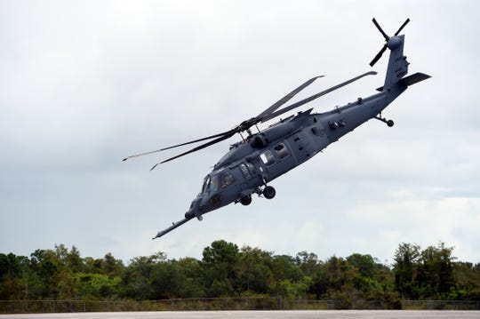 "A new combat rescue helicopter, the  HH-60W ""Whiskey"" model of the Pave Hawk, was on display during a ceremony at the Sikorsky Development Flight Center in Jupiter on Monday, Oct. 7, 2019. Four HH-60W aircraft are undergoing testing and five more are in production."