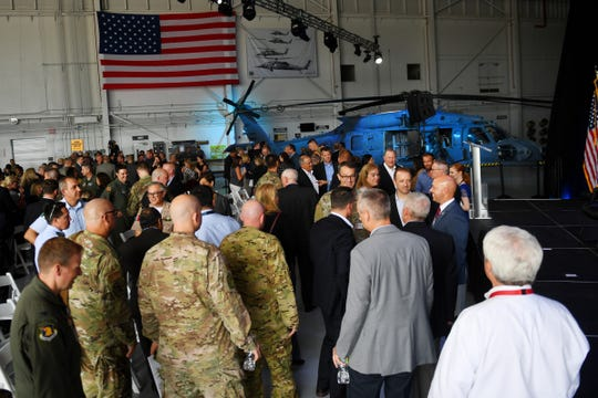 "Military and elected officials were on hand Monday, Oct. 7, 2019, during a ceremony showcasing the HH-60W ""Whiskey"", a new model of the Pave Hawk combat rescue helicopter, at the Sikorsky Development Flight Center in Jupiter."