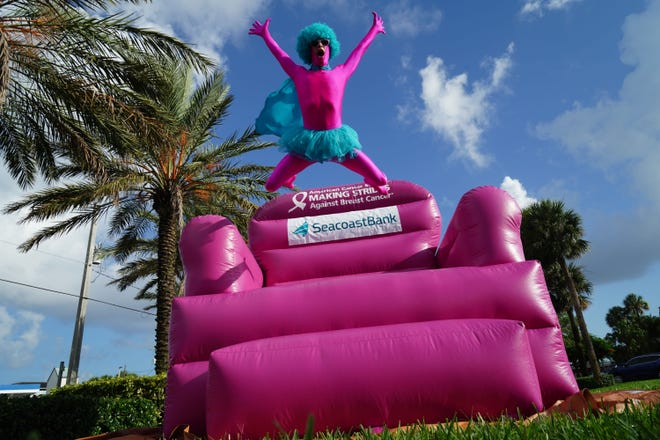 The Pink Man, a Making Strides Against Breast Cancercharacter created by Seacoast Bank, is known locally for the smiles, laughterand joy he brings to everyone he meets.