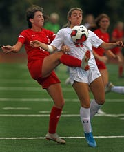 Horace Greeley Sammi Forster (21) and Tappan Zee's Teagan Mulvihill (10) battle for control of the ball during girls soccer game at Tappan Zee High School in Orangeburg Oct. 7, 2019.