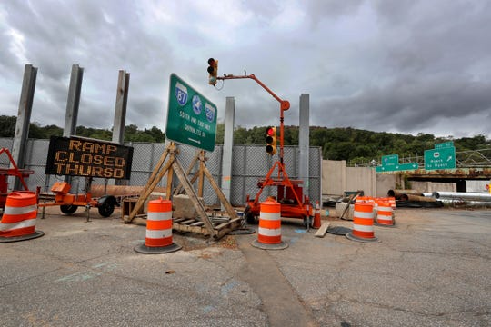 The entrance to the southbound Thruway from South Broadway in South Nyack will be closed on Thursday, the day after the new Exit 10 interchange was opened.
