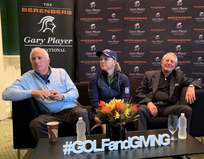 Curtis Strange, Morgan Pressel and Gary Player talking about giving back in advance of the Berenberg Gary Player Invitational on Monday at GlenArbor Golf Club in Bedford.