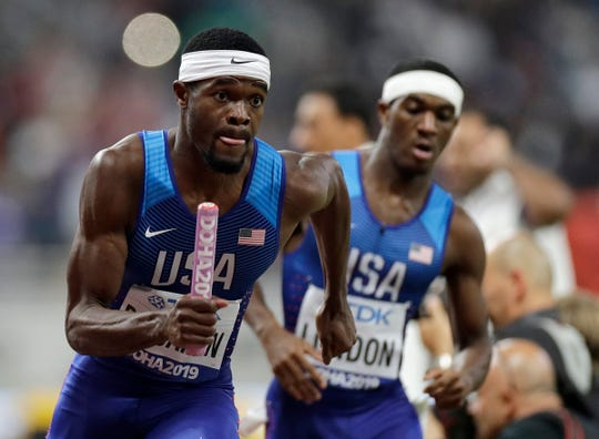 Rai Benjamin of the United States anchors the team to the gold medal in the men's 4x400 meter relay final at the World Athletics Championships in Doha, Qatar, Sunday, Oct. 6, 2019. (AP Photo/Petr David Josek)