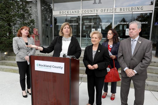 Kristen Zebrowski Stavisky, one of the Rockland County's two election commissioners, speaks about early voting during a news conference at the Rockland County Office Building in New City Oct. 7, 2019. With her was Patricia Giblin, left, the other county election commissioner, Assemblywoman Ellen Jaffee, Linda Berns of the Rockland League of Women Voters, and County Executive Ed Day. All were on hand to spread the word about early voting, which will run throughout New York State from Oct. 26 through Nov. 3rd.