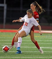 Horace Greeley Sammi Forster (21) Tappan Zee's Niamh Healy (19) battle for control of the ball during girls soccer game at Tappan Zee High School in Orangeburg Oct. 7, 2019.