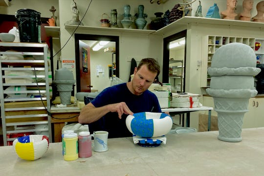Midwestern State university visiting artist Nate Ditzler working on a bowl for the 8th annual Empty Bowls event to be held from 11 a.m. to 1:30 p.m. Oct 15 at the Wichita Falls Museum of Art at MSU Texas.