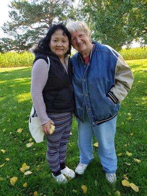 Sheng Yang and Susan on Sunnybook Farm.